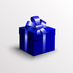 Vector abstract gift box with blue ribbon