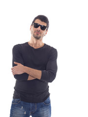 man in Jeans posing over white background