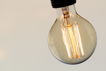 vintage light bulb with copy space as creative concept