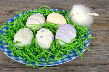 Easter egg cookies with baby chick