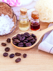 Natural Spa Ingredients . - Aromatic spa coffee beans with sea s