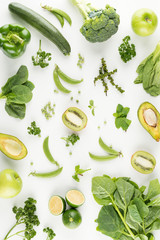 Green fruits and vegetables