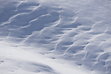 Snow texture, surface created by a wind