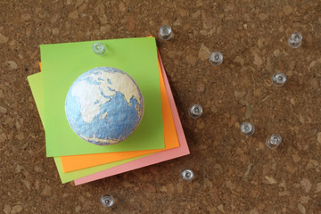 hand drawn texture globe and social network diagram with pin and