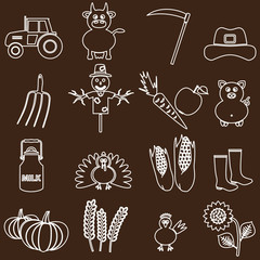 farm white and brown simple outline icons set eps10