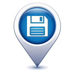 disquette sur marqueur géolocalisation bleu