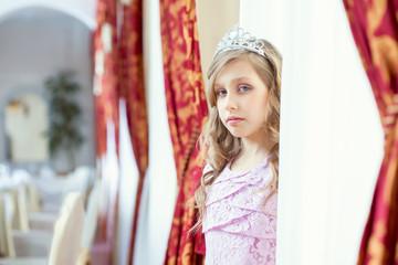 Beautiful girl posing in smart dress and tiara