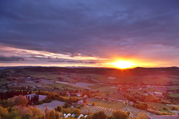 View of the typical Tuscan countryside at sunset