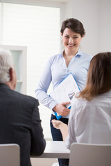 Positive woman applying for a job