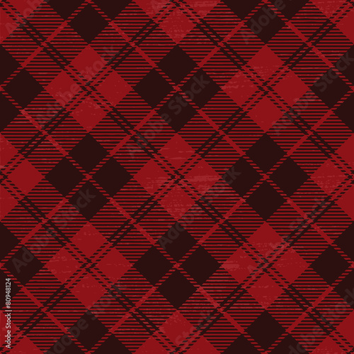 obraz PCV Red grunge plaid tartan 1