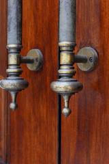 Antique door handle closeup