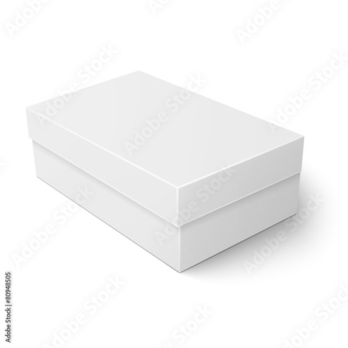White cardboard shoebox template. - 80948505