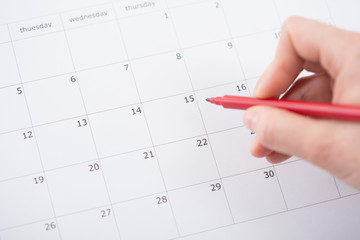 Month planning in the calendar