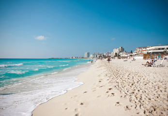 The white sand beach of Caribbean sea in Cancun Mexico