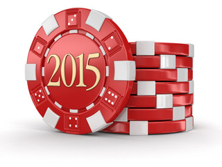 chip of casino 2015 (clipping path included)