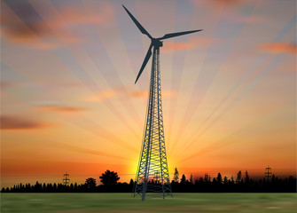 wind power generator silhouette in country landscape