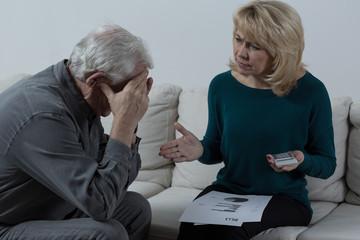 Senior couple having financial troubles