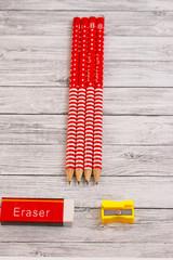 pencils erasure and sharpener