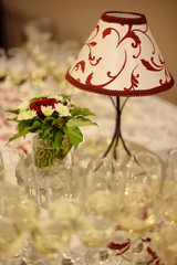 wedding  decoration with flowers and lamp
