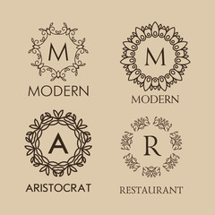 Set of luxury, simple and elegant  monogram designs