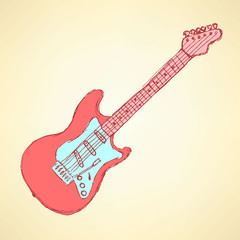 Sketch electric guitar musical instrument