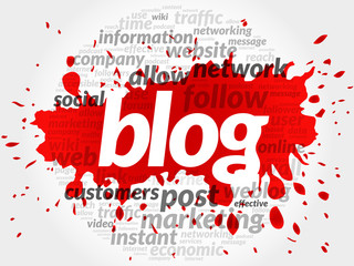 Red Blog concept in word tag cloud