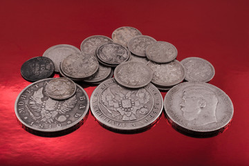 old silver on red