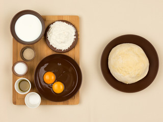 all the ingredients for making dough