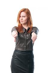 Beautiful woman showing thumbs down