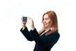 Beautiful woman taking selfie with smartphone camera