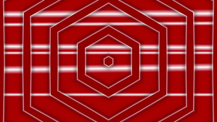 red abstract loop motion background, hexagon
