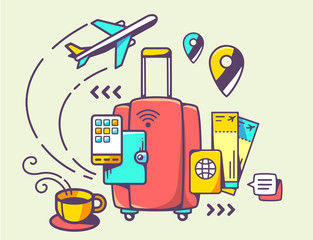 Vector illustration of red suitcase and travel accessories on li
