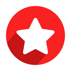 Icono redondo rojo estrella con sombra