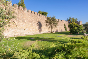 The ancient city walls of Evora
