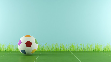 Play room with colorful soccer ball for child