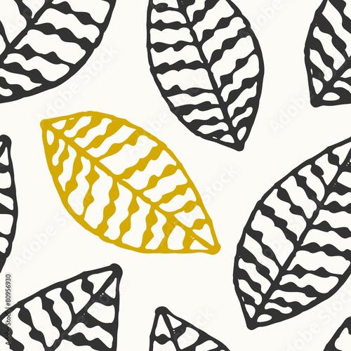 Hand Drawn Leaves Seamless Pattern - 80956930