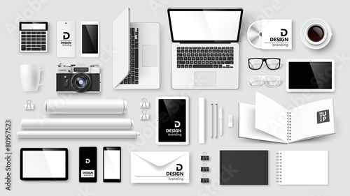 Mock Up set of corporate identity and branding. Vector - 80957523