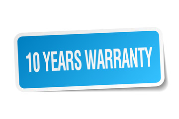 10 years warranty blue square sticker isolated on white