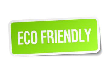 eco friendly green square sticker on white background