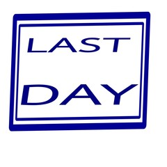 Last day Blue stamp text on white