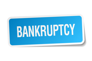 bankruptcy blue square sticker isolated on white