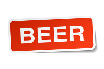 beer red square sticker isolated on white