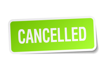 cancelled green square sticker on white background