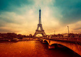 Paris cityscape, intense and dramatic colors. Filtered image