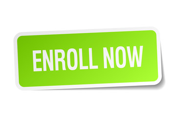 enroll now green square sticker on white background