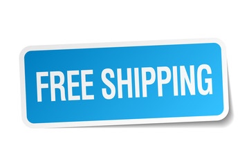free shipping blue square sticker isolated on white