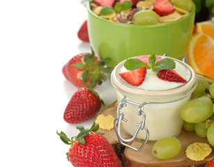Natural yogurt with fruit