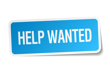 help wanted blue square sticker isolated on white