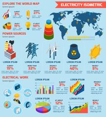 Electricity Isometric Infographics