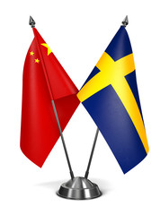 China and Sweden - Miniature Flags.